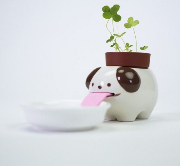 These Animal Planters Keep Themselves Hydrated By Drinking From Their Little Water Bowls