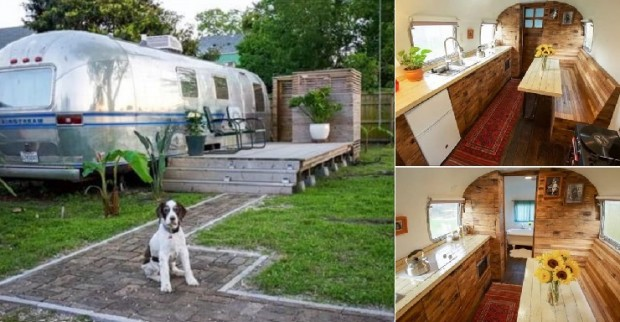 The interior of a renovated 1979 Airstream
