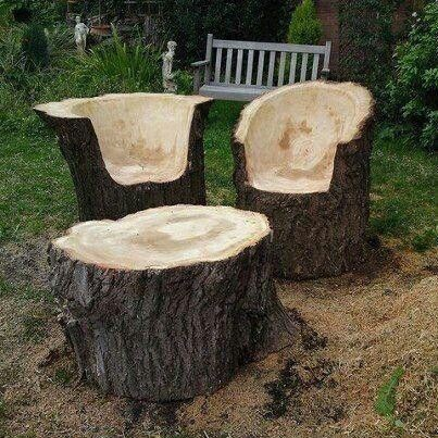 Turn Tree Stumps And Logs Into Unique Chairs/Stools